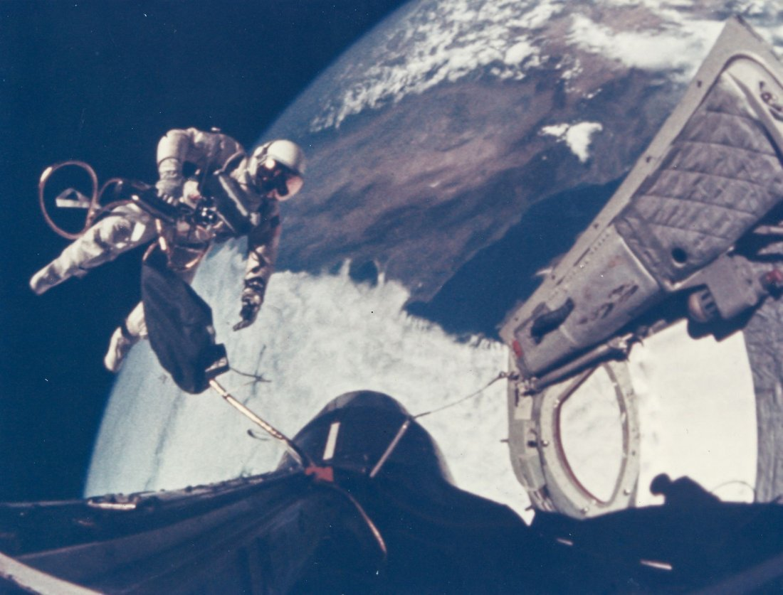 First US Spacewalk - Ed White floats away from the