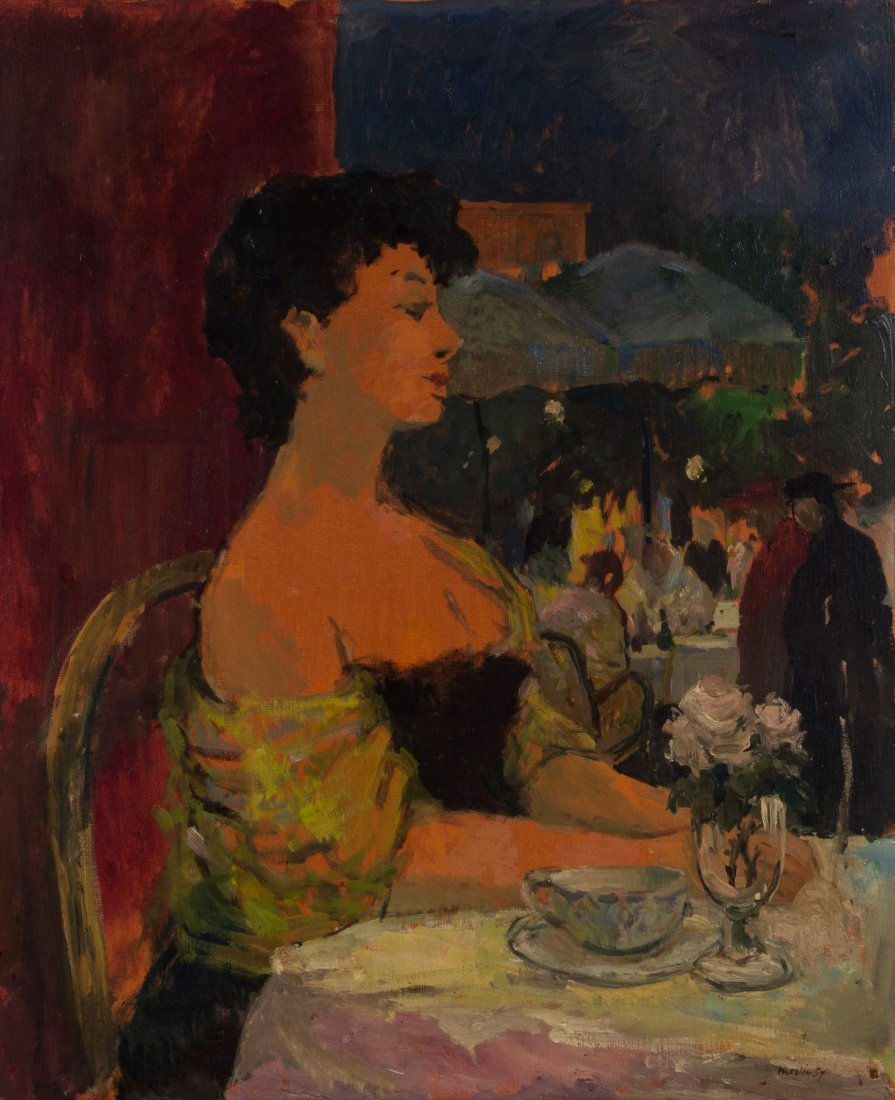 Charles Mozley (1914-1991) - Lady in Cafe, 1957