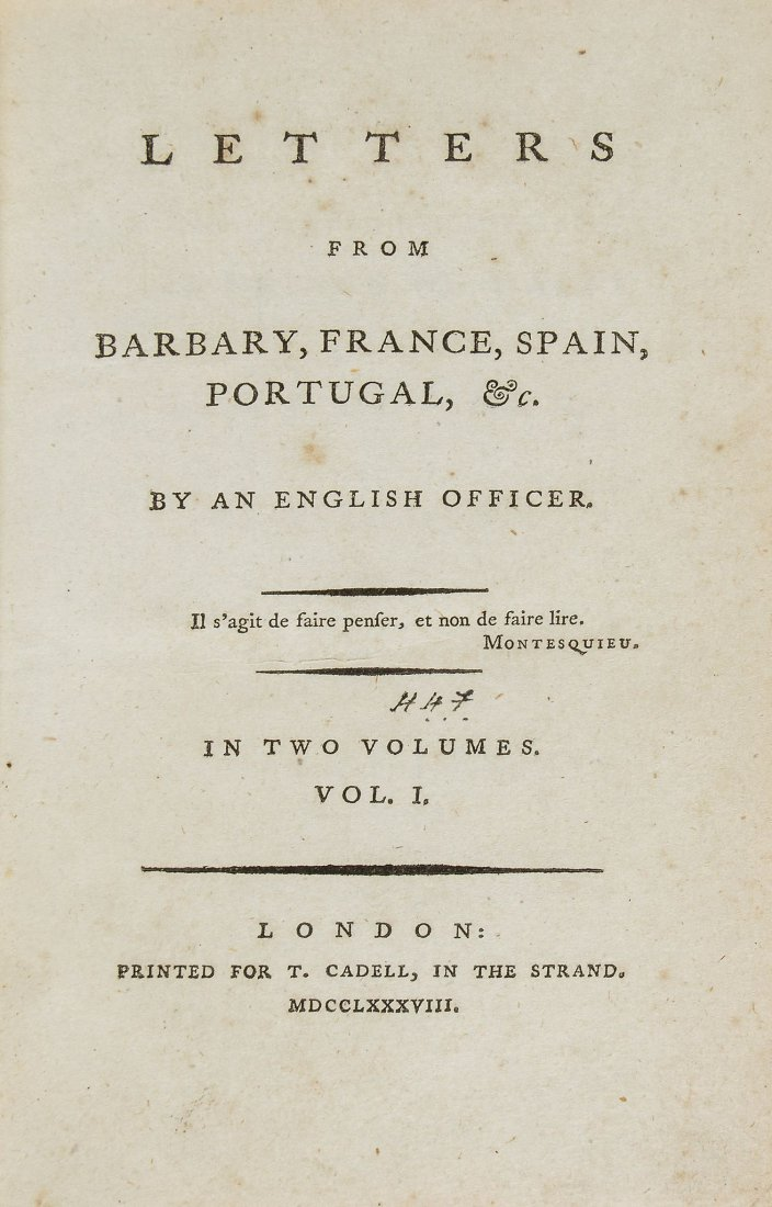 [Jardine (Alexander)] - Letters from Barbary, France,