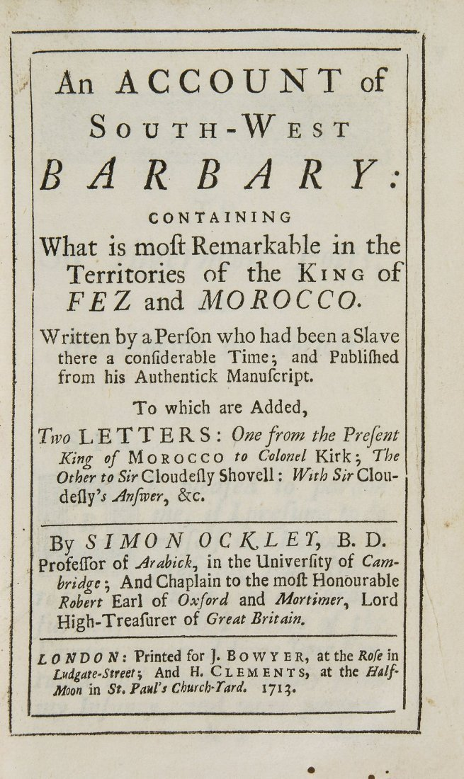 Ockley -  An Account of South-West Barbary: containing