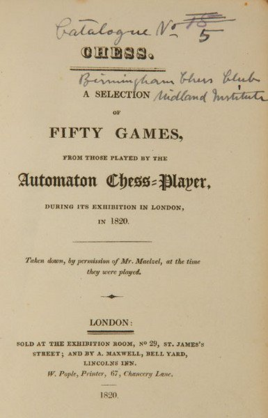 4C: Fifty Games played by the Automotan, 1820