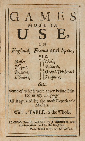 18C: Games most in Use in England France & Spain