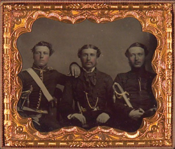 18E: Ambrotype Portrait of three US Army Officers