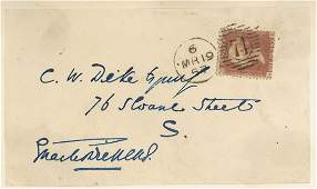 DICKENS, CHARLES - Envelope panel signed , addressed in
