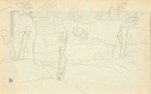 7D: Pierre Bonnard (1867-1947) esquisse, homme dans le