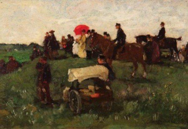 9D: Johannes Akkeringa (1861-1942) watching the races