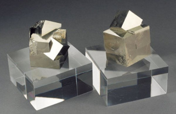 12A: A COLLECTION OF PYRITE CUBES ON MATRIX, Spain