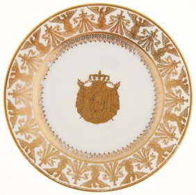 A French White Porcelain And Gilt Sevres-style Plate Of