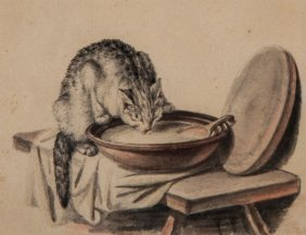 Freudenberger (sigmund, 1745-1801) - Cat Drinking Milk