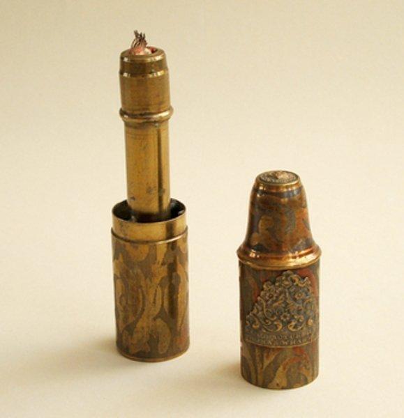 9C: THOMAS WARTON TAPER HOLDER & MATCH BOX, 1850s