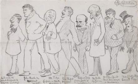 Chesterton (Gilbert Keith) - 3 caricature drawings of