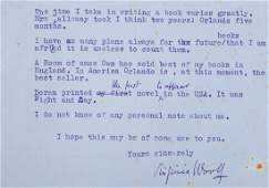 Woolf - Typed Letter signed to G G. H. Grubb, London