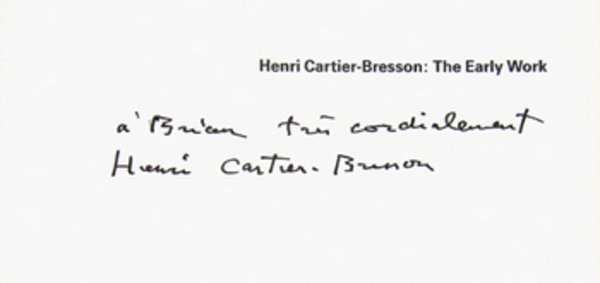 24A: Galassi.Henri Cartier-Bresson:Early Work, sgd