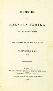151A: Marsden.Memoirs of a Malayan Family, 1830
