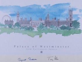 Thatcher, Margaret & Tony Blair - Colour Print Of The