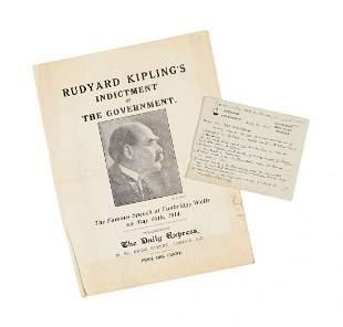 Kipling (Rudyard) - Autograph card signed