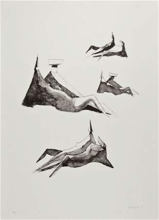 Lynn Chadwick (1914-2003) - Cloaked Figure; Reclining