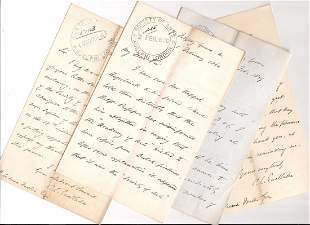 Eastlake, Charles Lock - Five letters signed to the