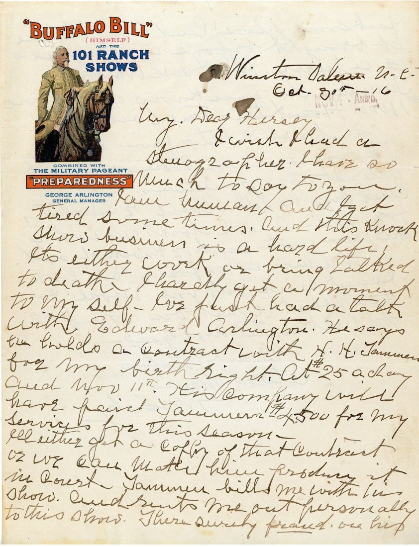 Cody, William Frederick - Autograph letter signed to