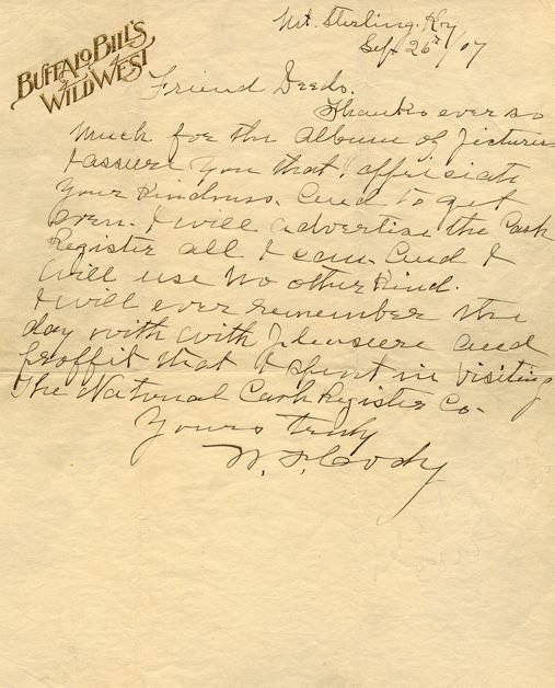 Cody, William Frederick - Autograph letter signed