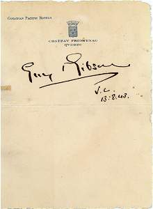 """Gibson, Guy - Ink signature """"Guy Gibson V.C, 13:8:43"""""""