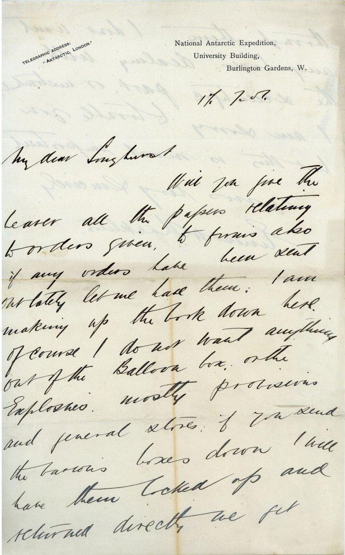 Shackleton, Ernest - Autograph letter signed , to Cyril