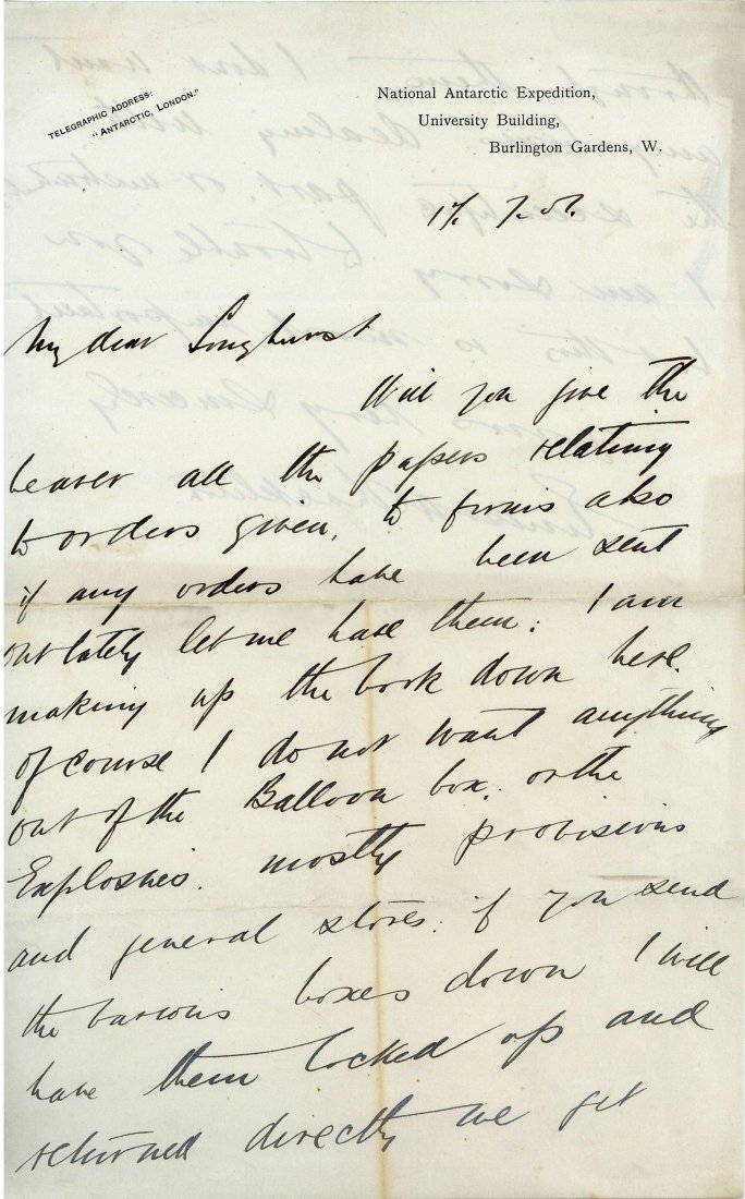 Shackleton, Ernest - Autograph letter signed , to Cyril