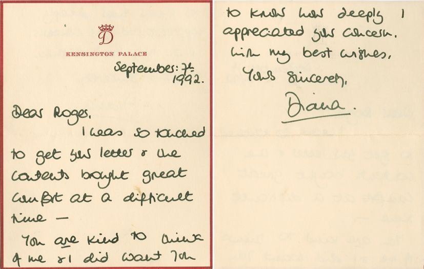 Diana, Princess of Wales - Autograph letter signed to