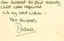 Diana, Princess of Wales - Autograph note signed ,
