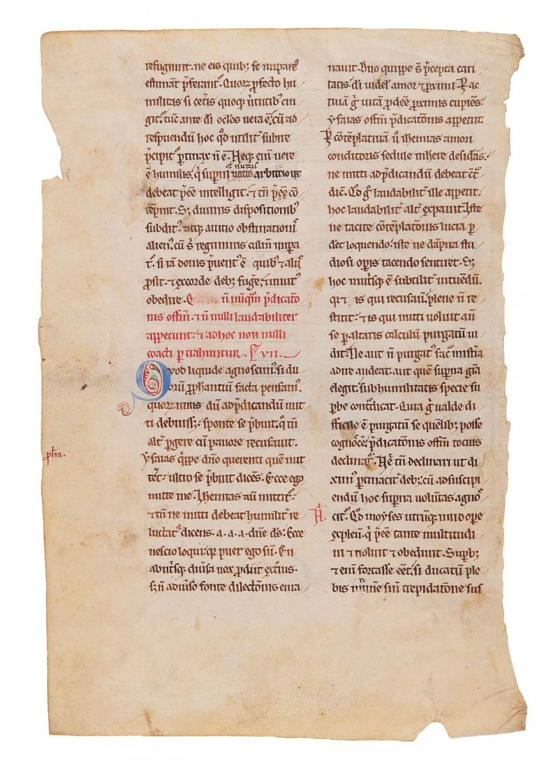 Leaf from a copy of Gregory the Great, Cura Pastoralis