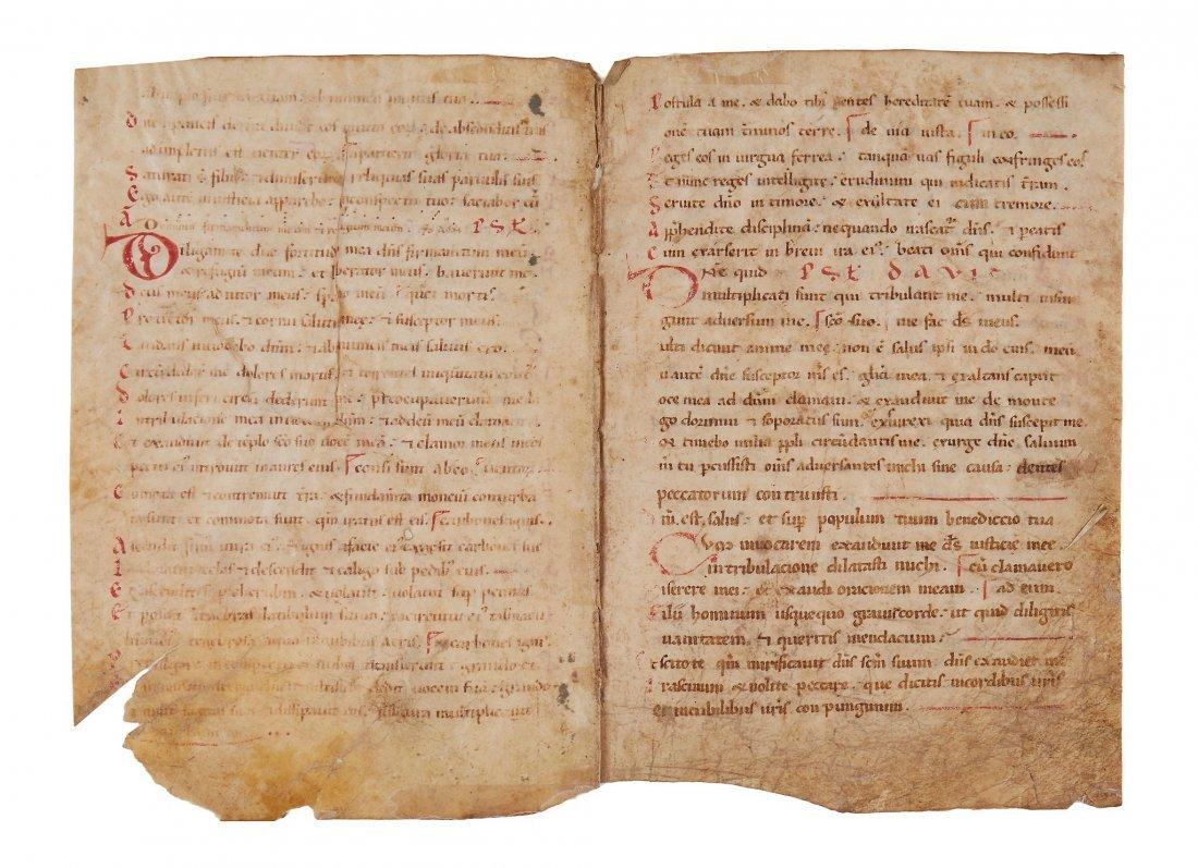 Bifolium from a Romanesque Psalter, in Latin