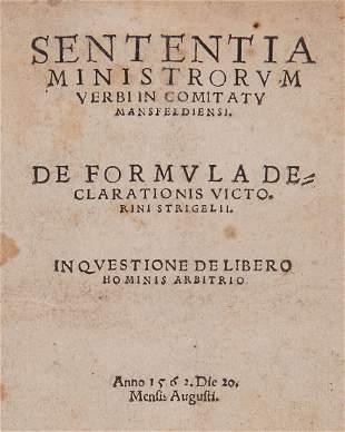 Strigel (Victorinus).- - Sententia Ministrorum Verbum
