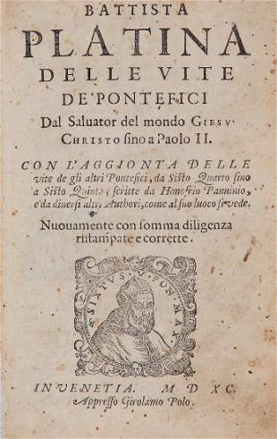 Platina (Bartolomeo) - Delle Vite de 'Pontifici...,