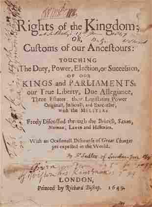 [Sadler (John)] - Rights of the Kingdom; or Customs of