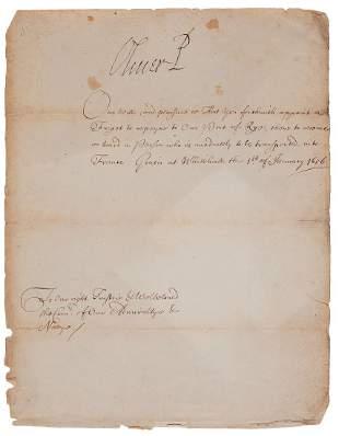 Cromwell (Oliver) - Manuscript travel warrant,