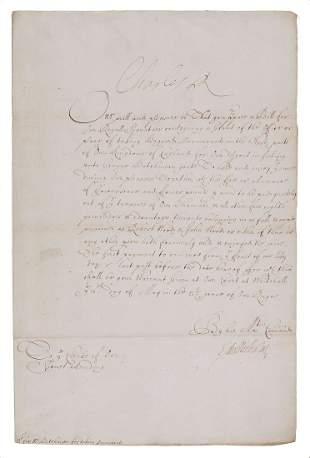Charles II - Document Signed,
