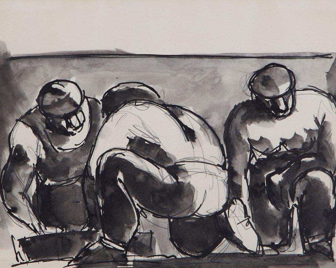 Herman (Josef) - Three Men Crouching; Harvesting,