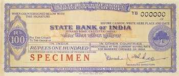 512b State Bank Of India Specimen Travellers Cheques