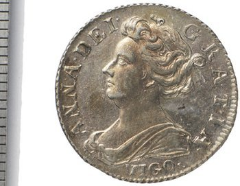 781B: - second bust Sixpence 1703, vigo below (S.3590).