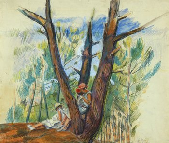14C: Pierre Roy (1880-1950) two girls sewing under pine