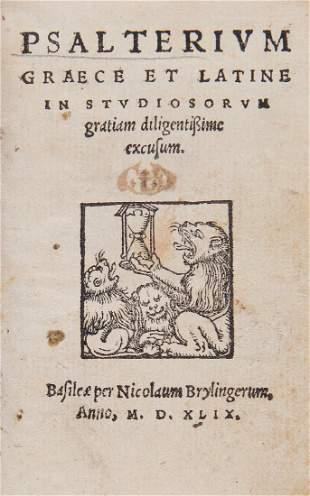 Bible, - Greek and Latin . Psalterium Graece et Latine