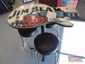 Jim Beam Guitar Table and Stools