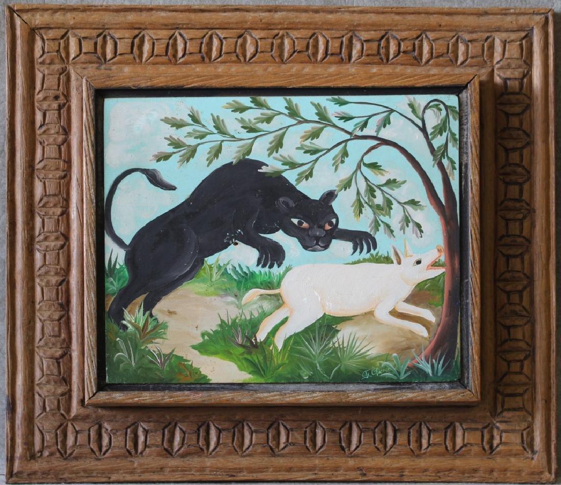 Original Oil in Board by Haitian Artist F. Pierre