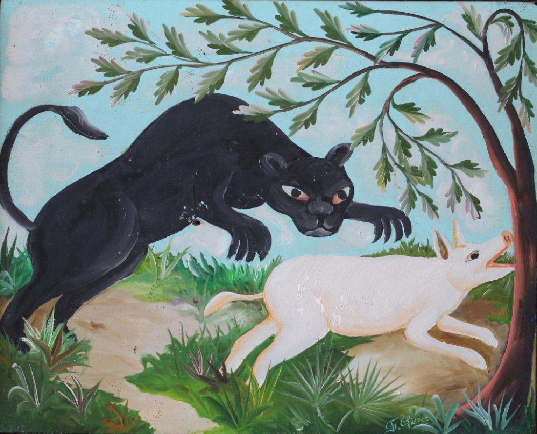Original Oil in Board by Haitian Artist F. Pierre - 2