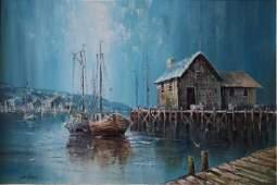 Oil on Canvas New England Seascape by John Luini
