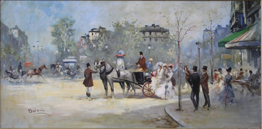 Boldrini Parisian Street Scene Oil on Canvas
