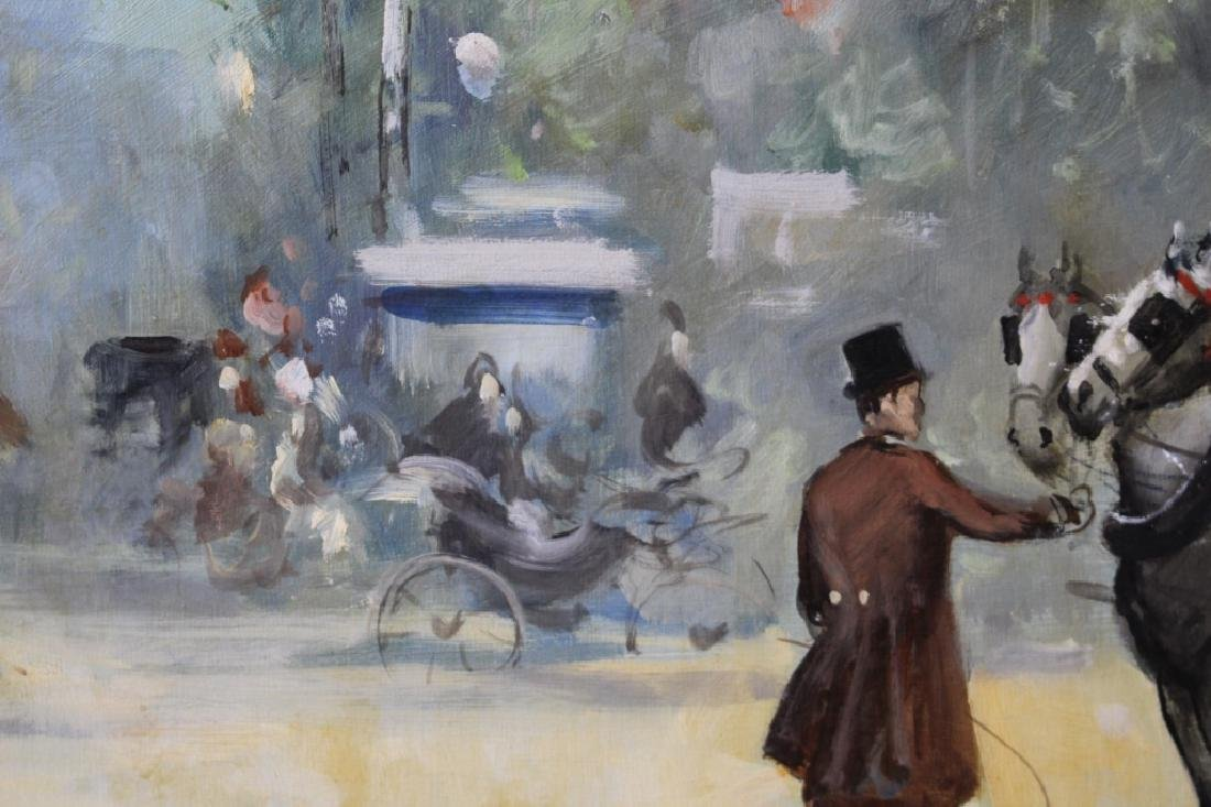 Boldrini Parisian Street Scene Oil on Canvas - 6