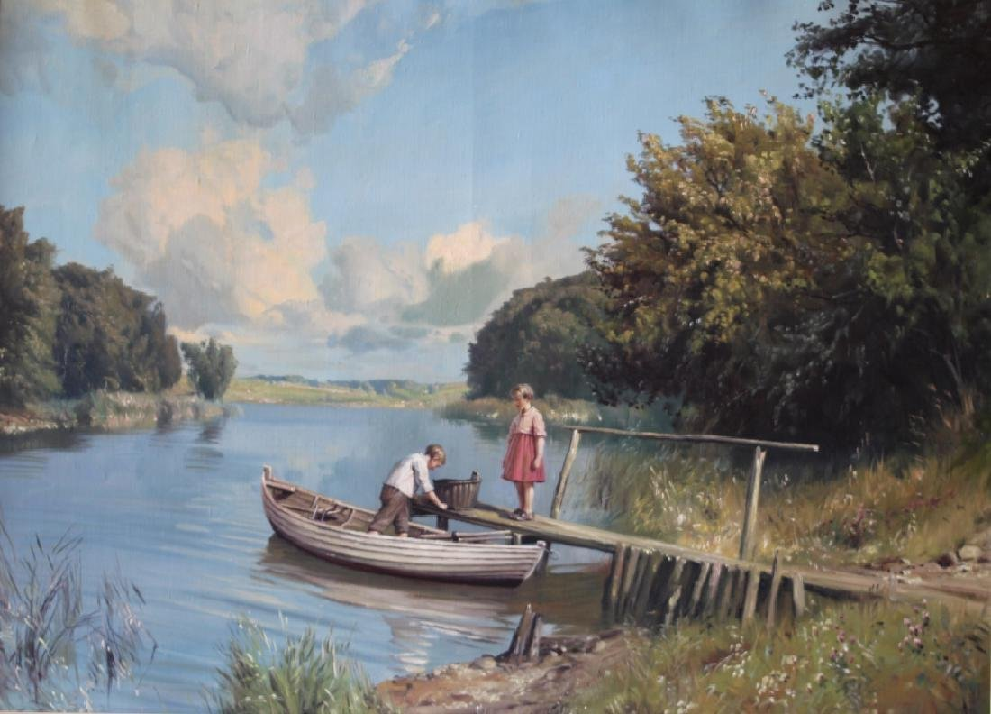 Niels Walseth Boy & Girl on dock Oil on Canvas