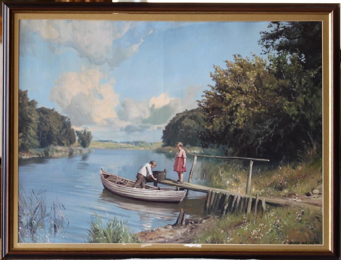 Niels Walseth Boy & Girl on dock Oil on Canvas - 2