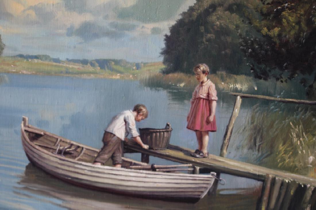 Niels Walseth Boy & Girl on dock Oil on Canvas - 3